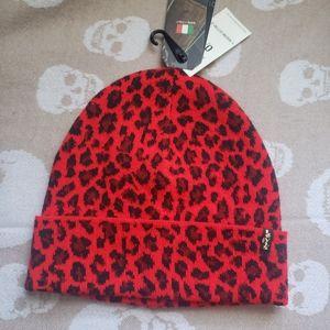 LEVIS  Red Leopard Winter Hat Beanie NEW